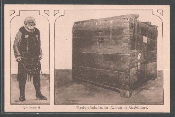 Eine historische Postkarte zeigt den Raubgrafenkasten
