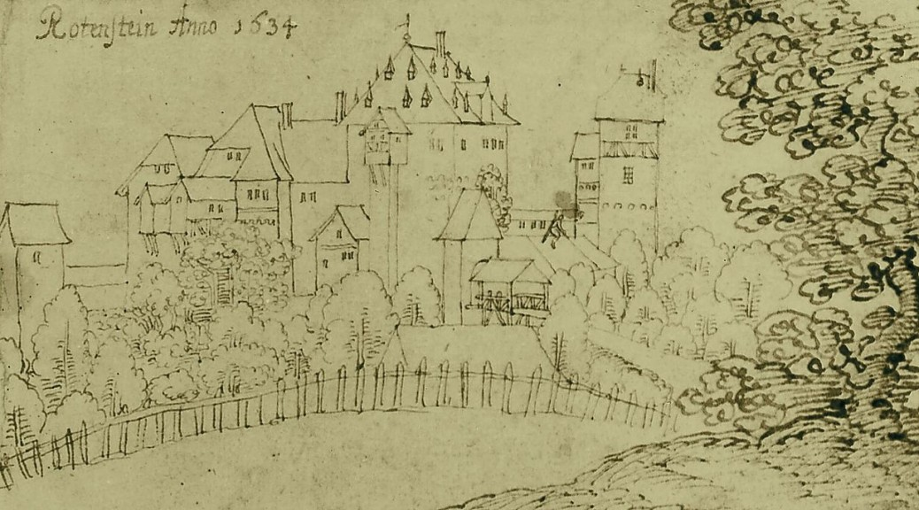 Burg Rodenstein auf einer Zeichnung von 1634. Geister sind nicht zu sehen. Bild: gemeinfrei