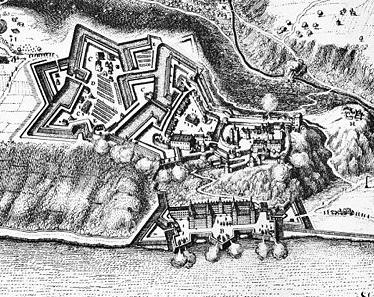 Die Festung Ehrenbreitstein mit Schloss Philippsburg (unten) 1646. (Bild: Wikipedia/Merian)