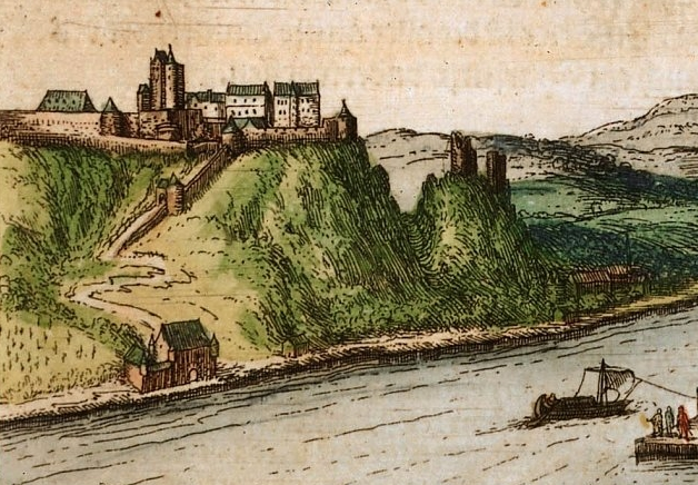 Der Ehrenbreitstein als kurtrierische Festung um 1574, noch ohne Schloss Philippsburg  (Bild: Wikipedia/Hogenberg)