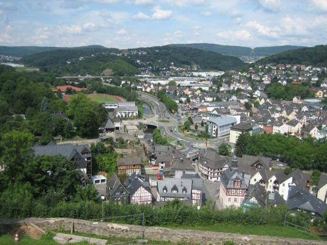 Blick auf Dillenburg vom Schlossberg aus.