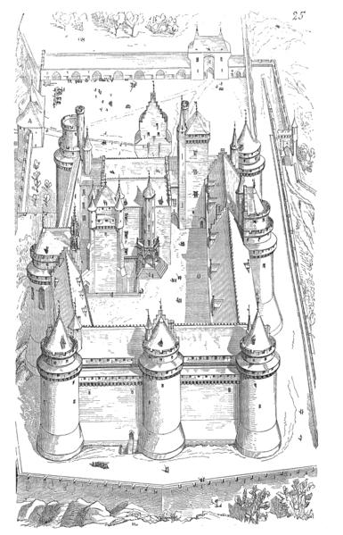 Entwurfzeichnung für Schloss Pierrefonds von Violett-le-Duc (Wikipedia, gemeinfrei)