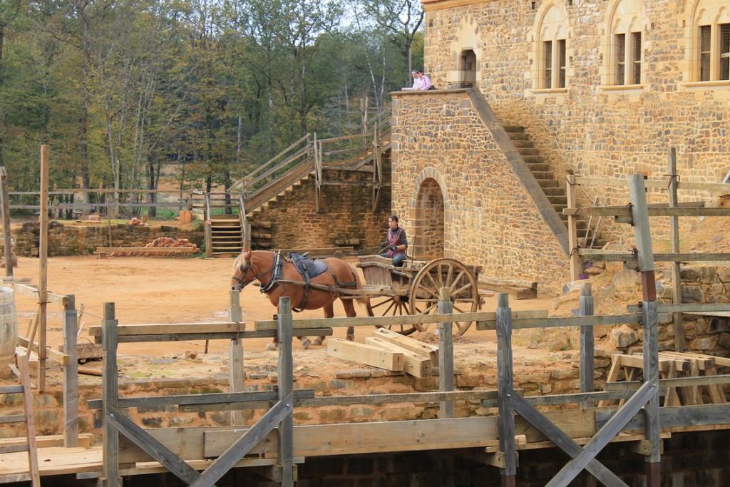 Der Transport der Baumaterialien