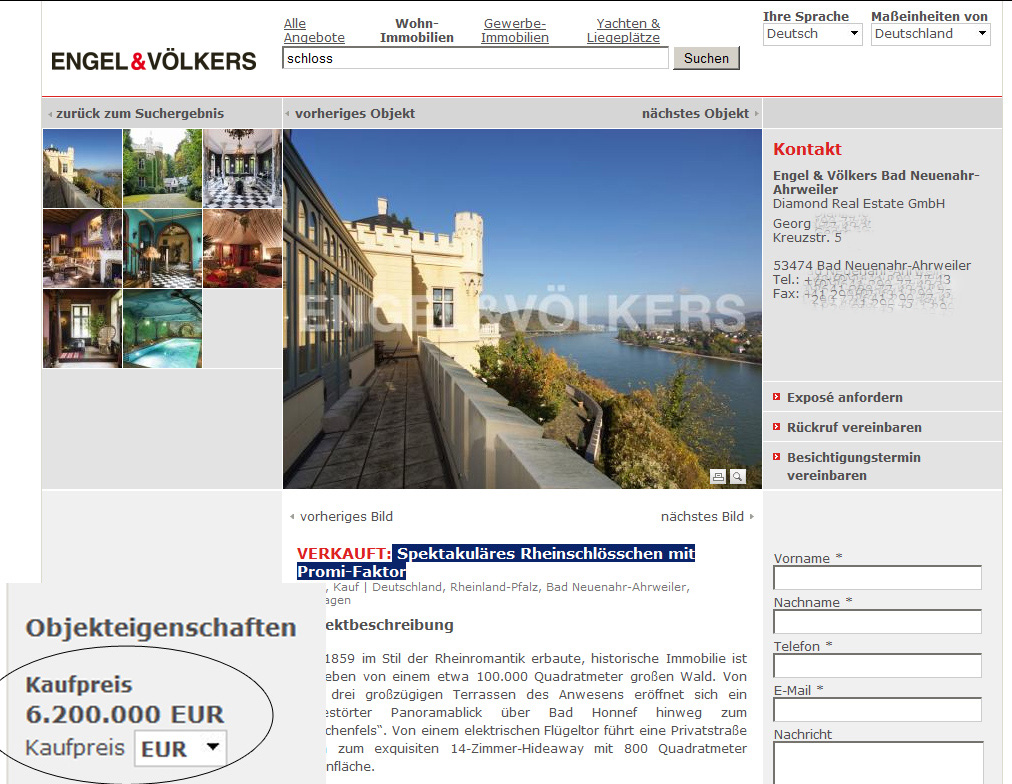 Screenshot der Makler-Seite für das Gottschalk-Schloss