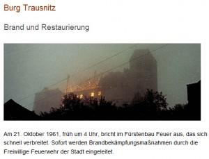 Oktober 1961: Verheerender Brand auf Borg Trausnitz / Bild: Screenshot www.burg-trausnitz.de