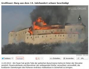 Feuer auf Burg Krásna Hôrka im März 2012 / Bild: Screenshot Spiegel Online