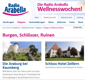 Hörbeiträge zu zwölf Schlössern und Burgen lassen sich auf der Radio-Arabella-Homepage auswählen. Bild: Screenshot