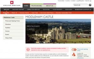Die Middleham-Homepage / Bild: Screenshot