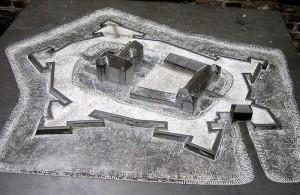 Modell des festungsartig ausgebauten Schlosses Rheydt im 16. Jahrhundert, Foto; Wikipedia/