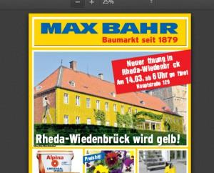 Schloss Rheda in Gelb: Ein Screenshot aus dem Baumarkt-Prospekt.