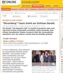 RP Online berichtet über die Stromberg-Dreharbeiten auf Schloss Garath. Bild: Screenshot