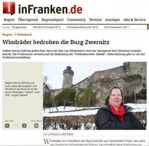 Mögliche Windräder vor Burg Zernitz sorgen für Ärger / Bild: Screenhot www.infranken.de