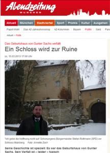 Die Münchner Abendzeitung berichtet über Schloss Mainberg / Bild: Screenshot