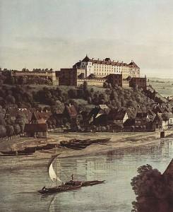 Die Festung Sonnenstein auf einem Gemälde von Canaletto von 1755 / Bild: Wikipedia/Urheberrecht abgelaufen