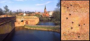 Der Eingang zur Festung Dömitz. Rechts: Eingemauerte Kanonenkugeln / Foto: Wikipedia/R.Kirchner