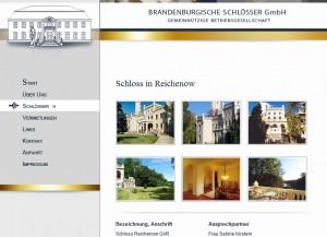 Die Brandenburgische Schlösser GmbH ist Eigentümerin von Schloss Reichenow / Bild: Screenshot von www.schloesser-gmbh.de
