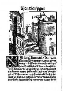 """Till Eulenspiegel als Turmbläser auf Schloss Bernburg. Illustration aus """"Ein kurtzweilig lesen von Dyl Vlenspiegel"""" von 1515 (Wikipedia, gemeinfrei)"""