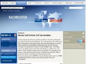 Der MDR berichtet über Schlosskauf und das bevorstehende Skinhead-Konzert. Bild: Screenshot