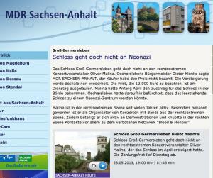 Screenshot der MDR-Seite mit den neuesten Nachrichten zu Schloss Germersleben