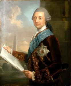 """Herzog Friedrich """"der Fromme"""" mit Schloss-Bauplan, gemalt von  Georg David Matthieu / Foto: Wikipedia/Public Domain"""