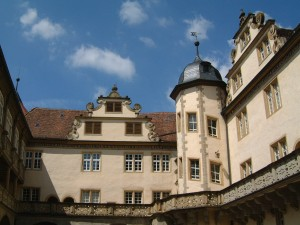 Schloss Langenburg: Renaissance-Innenhof mit Treppenturm / Foto: Wikipedia/Hermann Luyken