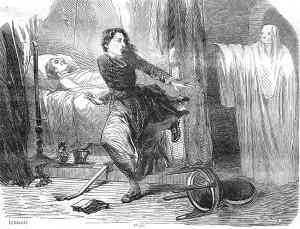 """Erscheinung einer """"Weißen Frau"""" - Zeichnung aus dem Jahr 1857 / Bild: Wikipedia/La Lecture Journal de Roman N°121"""
