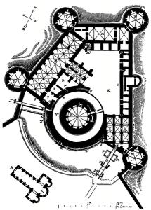 Der Grundriss von Chateau de Coucy, gezeichnet von Viollet-le-Duc / Wikipedia/Public Domain
