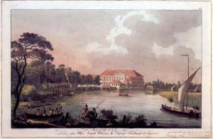 Schloss Bellvue 1797: Der Fabrikflügel an der Spree ist gut zu erkennen. Foto: Wikipedia/Zenodot Verlagsgesellschaft