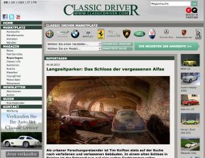 Screenshot des Artikels auf der Seite classicdriver.com