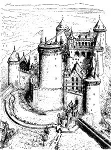 Rekonstruktionszeichnung der Burg von Coucy / Wikipedia