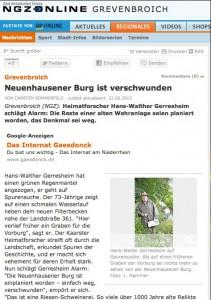 Die Neuß-Grebenbroicher Zeitung berichtet von den planierten Burgresten aus der Wikingerzeit / Bild: Screenshot