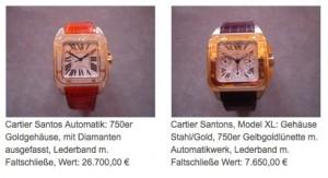 Zwei der bei dem Einbruch gestohlenen Cartier-Uhren / Screenshot von der Seite der Polizei