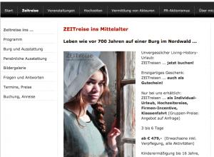 """Die Agentur Zeitenwanderer wirbt für """"Zeitreisen ins Mittelalter"""" Screenshot: www.zeitenwanderer.at"""