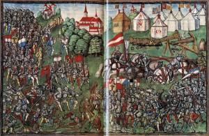 Die Luzerner Chronik von 1515 zeigt die Schlacht von Grandson: Im Hintergrund rechts das burgundische Lager / Bild: Wikipedia/Public Domain