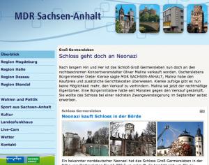 Schloss Groß Germersleben wird nun doch verkauft, meldet der MDR / Screenshot