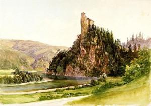 Der Blick aus dem Tal sah auf diesem Aquarell von 1860 nicht anders aus als heute. Bild: Wikipedia/gemeinfrei