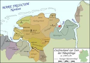 Karte von Ostfriesland zur Zeit der Häuptlinge um 1300 mit Standort der Sibetsburg / Bild: Wikipedia / Peter Frankfurt / CC-by-sa