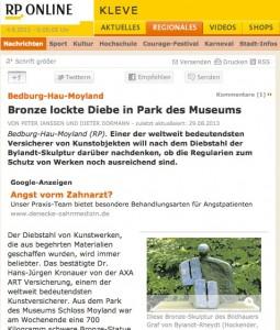 Die Rheinsche Post Kleve berichtete über den Diebstahl / Bild: Screenshot
