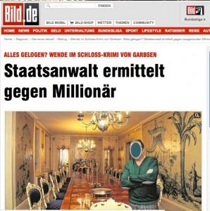 """Die """"Bild"""" bringt die Neueste Wendung im Einbruch auf Schloss Ricklingen (Gesicht von mir unkenntlich gemacht) / Screenshot"""