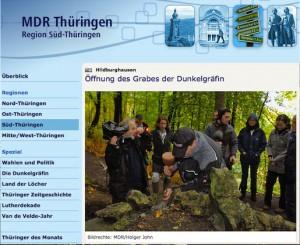 Der MDR Thüringen meldet den Beginn der Graböffnung / Screenshot MDR