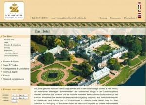 Nach dem Hochwasser wieder geöffnet: Schlosshotel Pillnitz / Screenshot von der Hotelseite