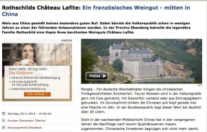 Auch Spiegel Online berichtet über das Weingut in China / Bild: Screenshot SPON