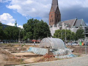 Die Hammaburg-Grabung auf dem Hamburger Domplatz / Foto: Wikipedia/Bullenwächter/CC-BY-SA-3.0-migrated-with-disclaimers
