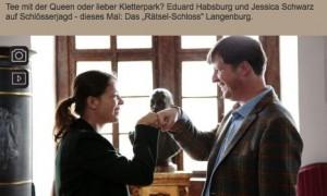 """""""Wo Grafen schlafen"""": Eduard von Habrsburg und Jessica Schwarz besuchen Schlösser und Burgen / Foto: Screenshot Servus TV"""