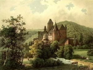Schloss Bürresheim um 1860. Ein Bild aus der Sammlung Duncker.
