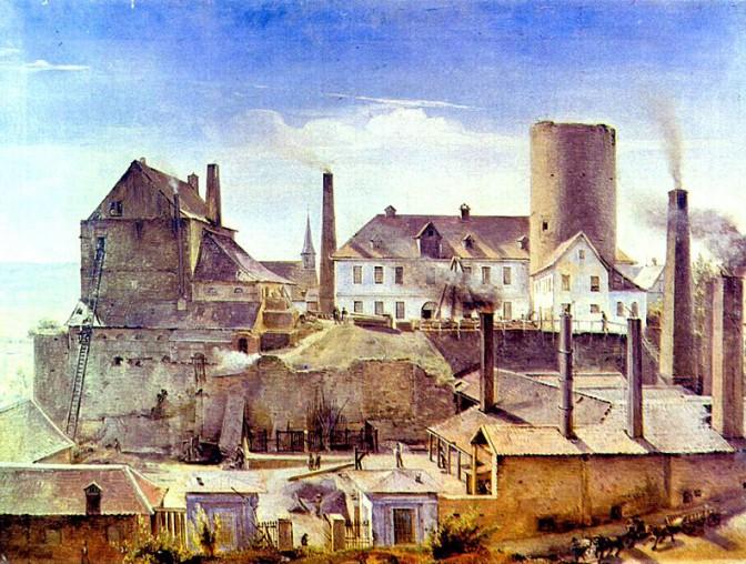 Die Harkortsche Fabrik hat Burg Wetter mit Beschlag belegt (1834) / Bild: Wikipedia/The Yorck Project