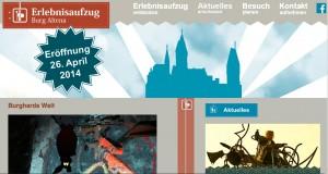 Die Homepage zum Erlebnisaufzug ist online / Bild: Screenshot