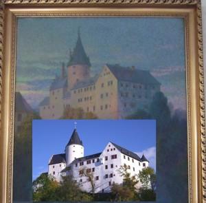 Schloss Schwarzenberb: Gemalt und echt - im gleichen Blickwinkel gesehen