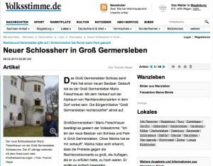 Die Volksstimme hatte die Geschichte vom neuerlichen Schlossverkauf als erste / Bild: Screenshor