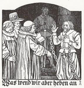 Täufer-Prediger Hans Haslibacher (hingerichtet 1571) vor den bernischen Behörden, Illustration von Rudolf Münger / Wikipedia/gemeinfrei